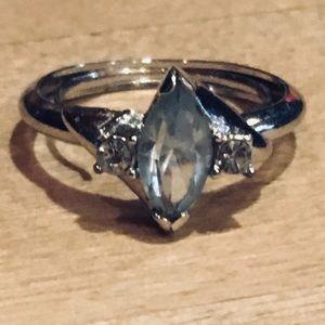 AVON Blue Topaz/Diamond Sterling Silver Sz 5